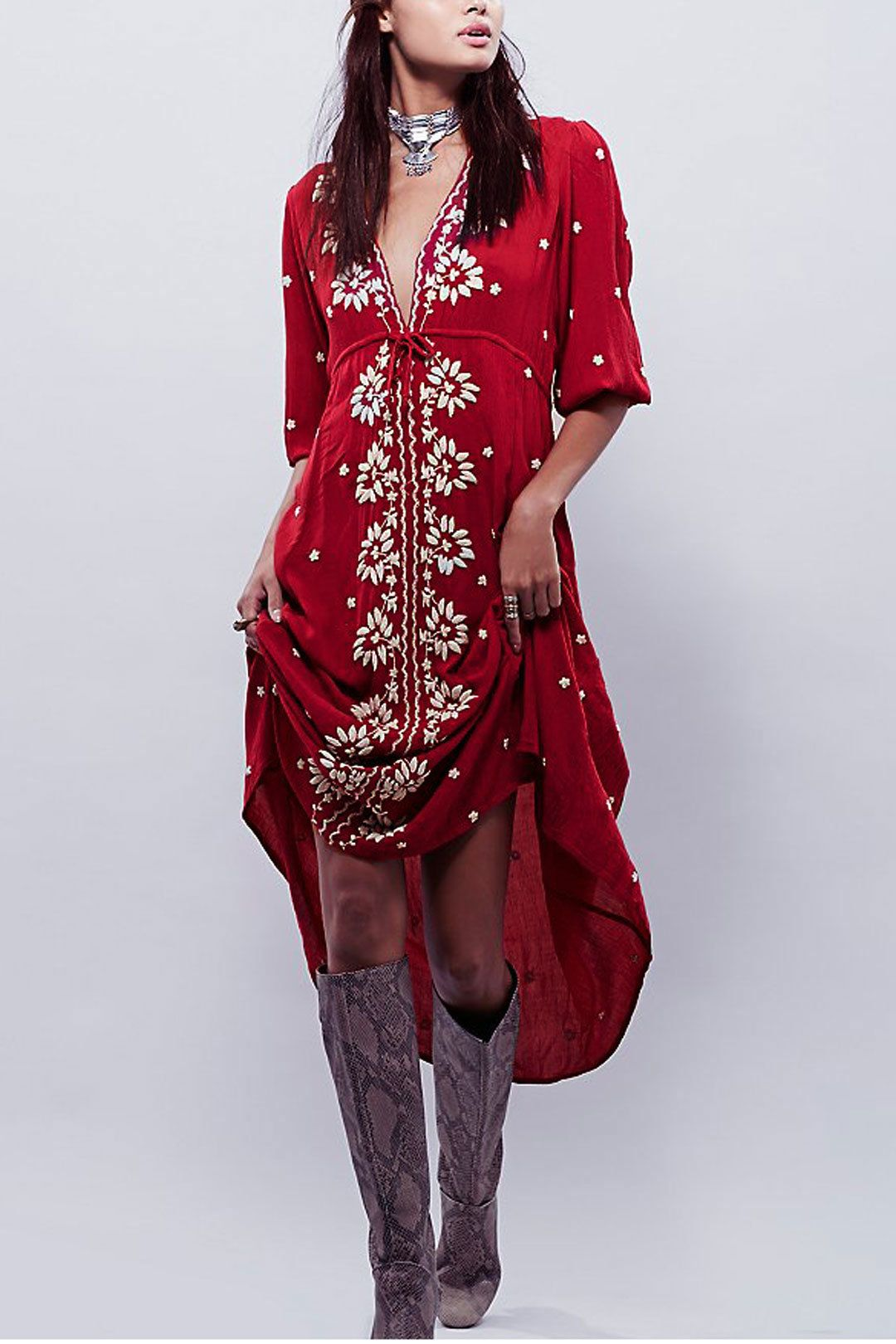 Floral embroidered maxi dress in red us yoins fave