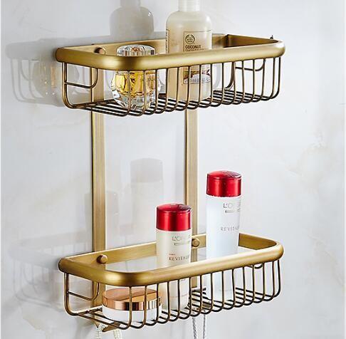 Wall Mounted Copper Bathroom Soap Dish Antique Two Tier Bath Shower Shelf  Bath Shampoo Holder Basket