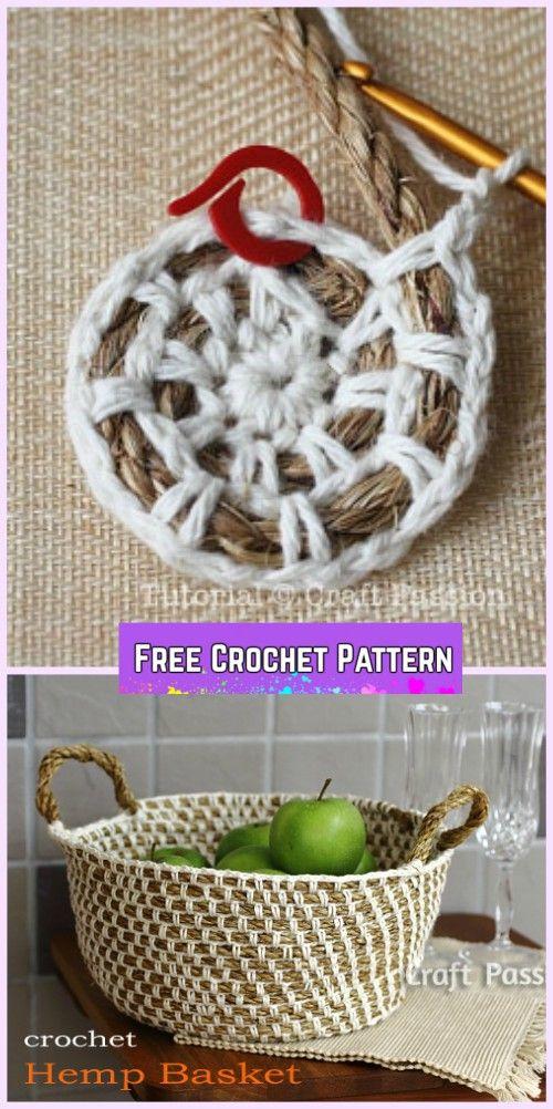 Crochet Hemp Rope Basket Free Pattern Pinterest Rope Basket