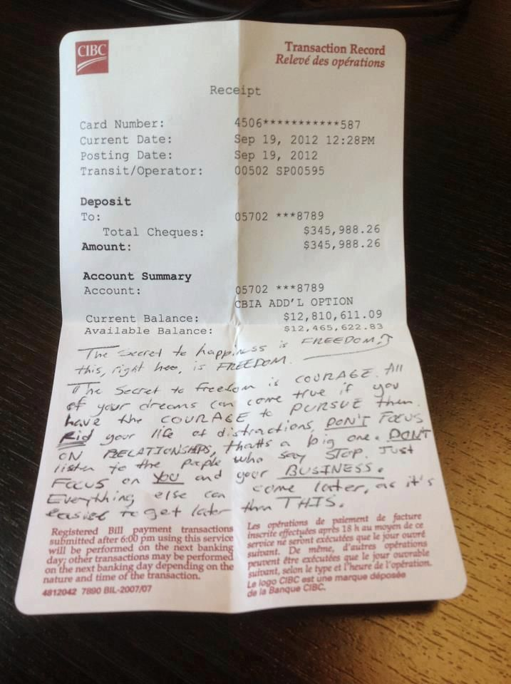 Million Dollar Bank Statement Recently Found In A Cafe With A