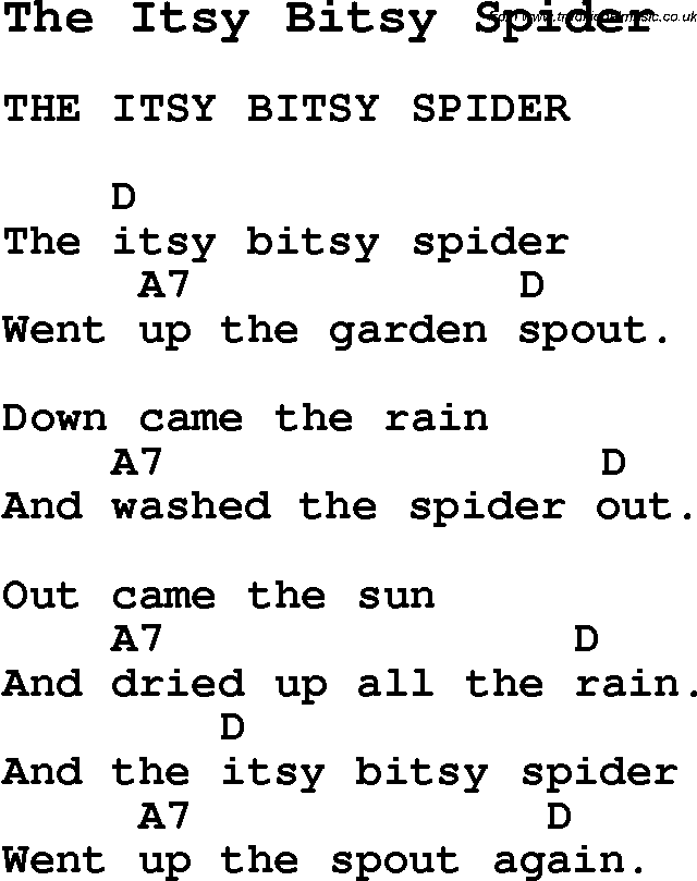 Summer-Camp Song, The Itsy Bitsy Spider, with lyrics and