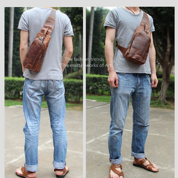 Convertible sling pack/day pack/men's leather bag/one shoulder ...