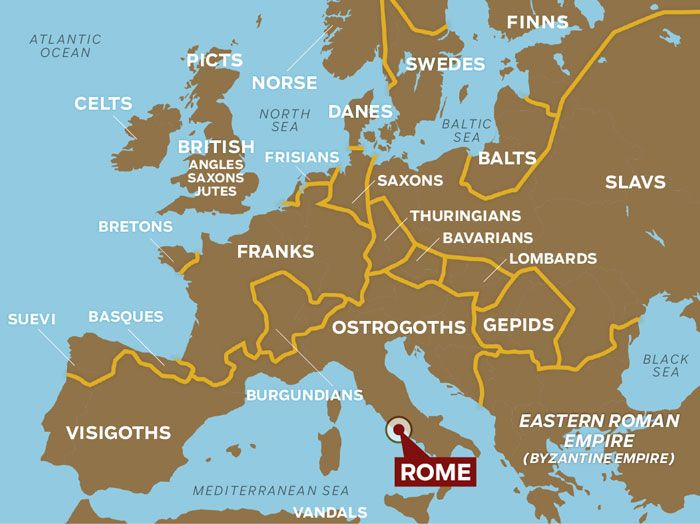 Gaul World Map.The Fall Of Rome Changed The Map Barbarian Tribes Like The Franks