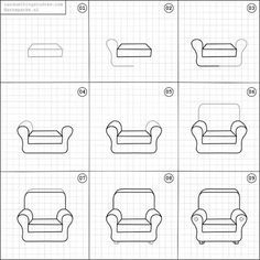 How To Draw A Comfy Chair Chair Drawing Easy Drawings Drawing Tutorial Easy
