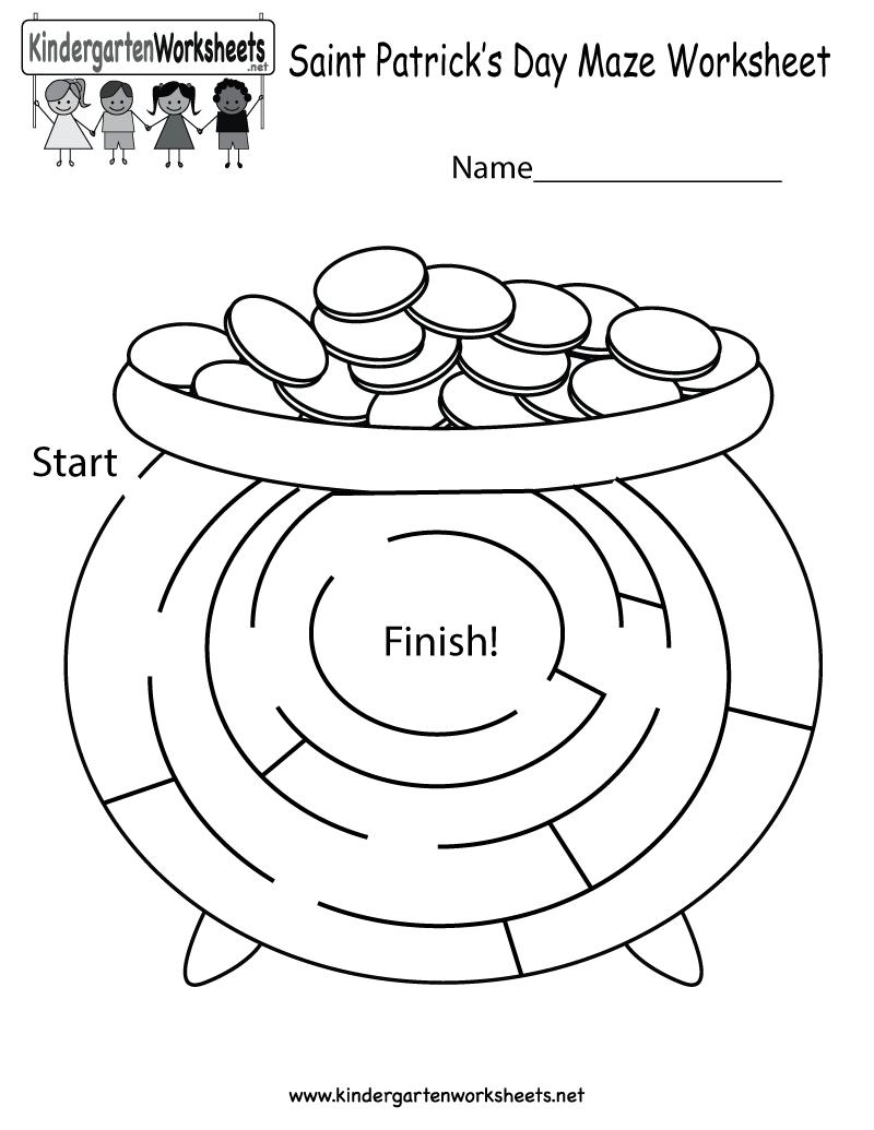Kindergarten Saint Patrick's Day Maze Worksheet Printable ...