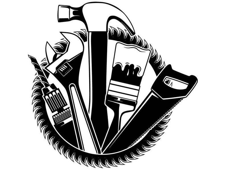 Toolbox Wrench Screwdriver Repair Fix Handyman Hardware Tool Etsy In 2021 Handyman Logo Tool Box Tool Logo
