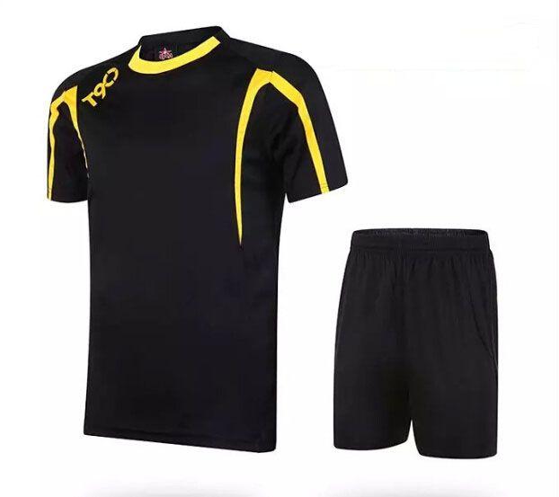 61a64a9a6 Soccer Jerseys Cheap-T90 Black Training Blank Uniform  3155