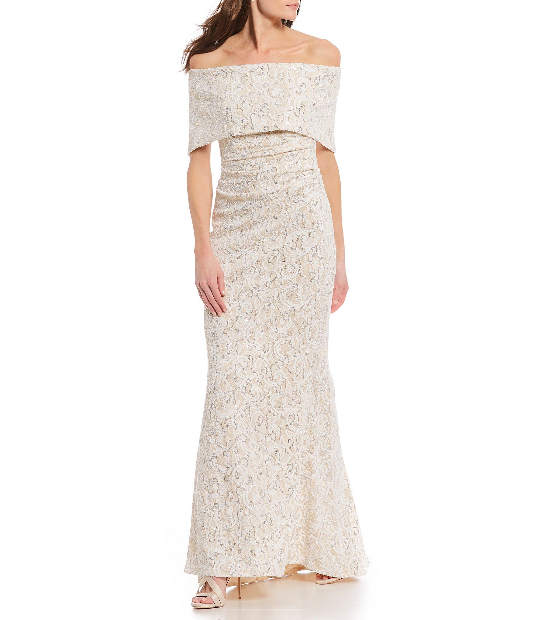 e7e24136ed9 Shop for Vince Camuto Off-the-Shoulder Popover Sequin Lace Gown at  Dillards. Visit