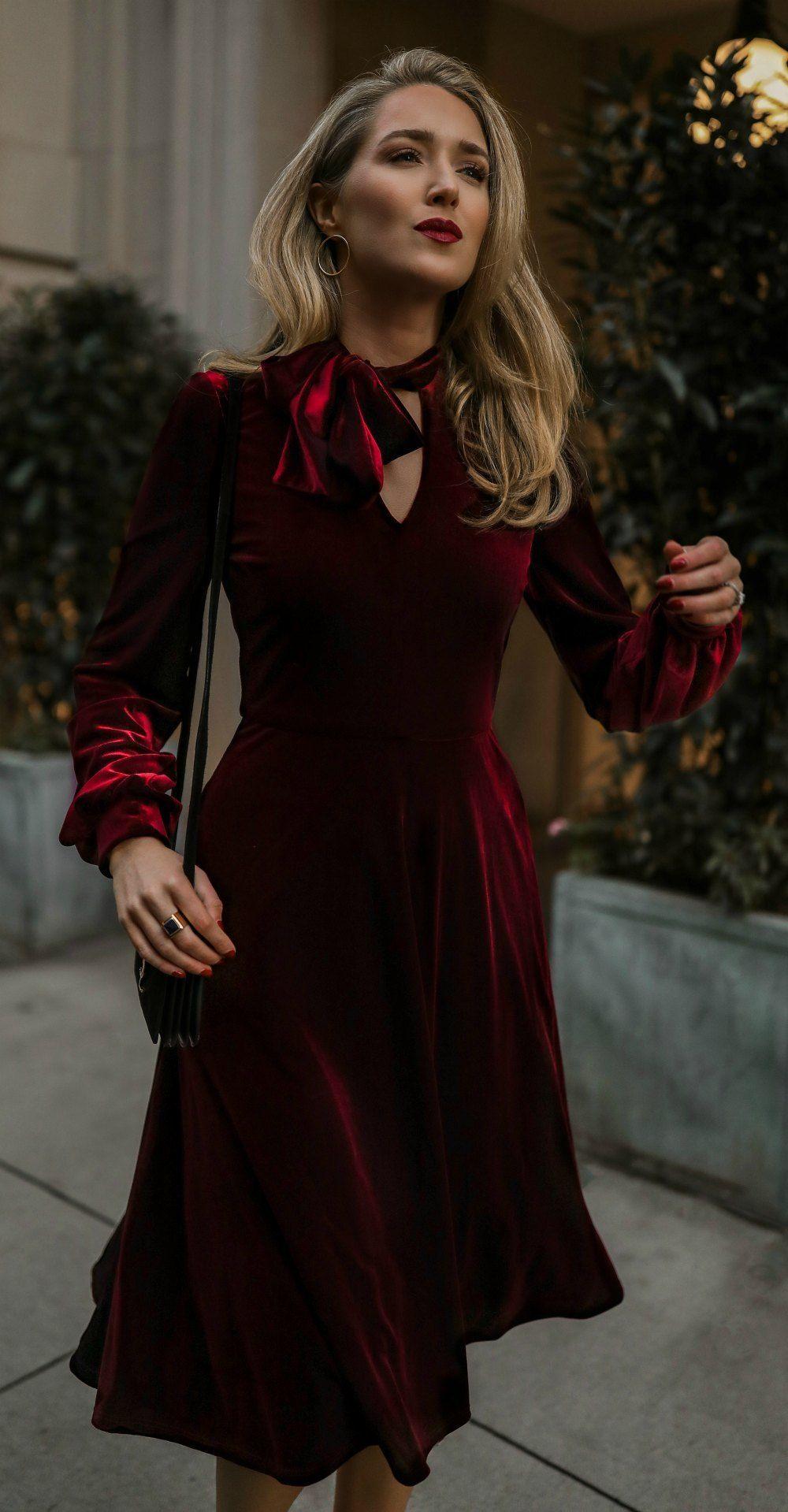 37c81827e5ba Burgundy velvet a-line dress with tie neck + long peasant sleeves, black  leather shoulder bag, gold hoops earrings Black Halo, YSL, Argento Vivo, ...