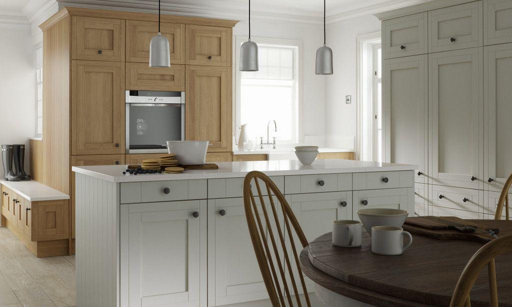 Framed Kitchen in Sea Foam and Oak image 1 Wrens Kitchens Linda ...