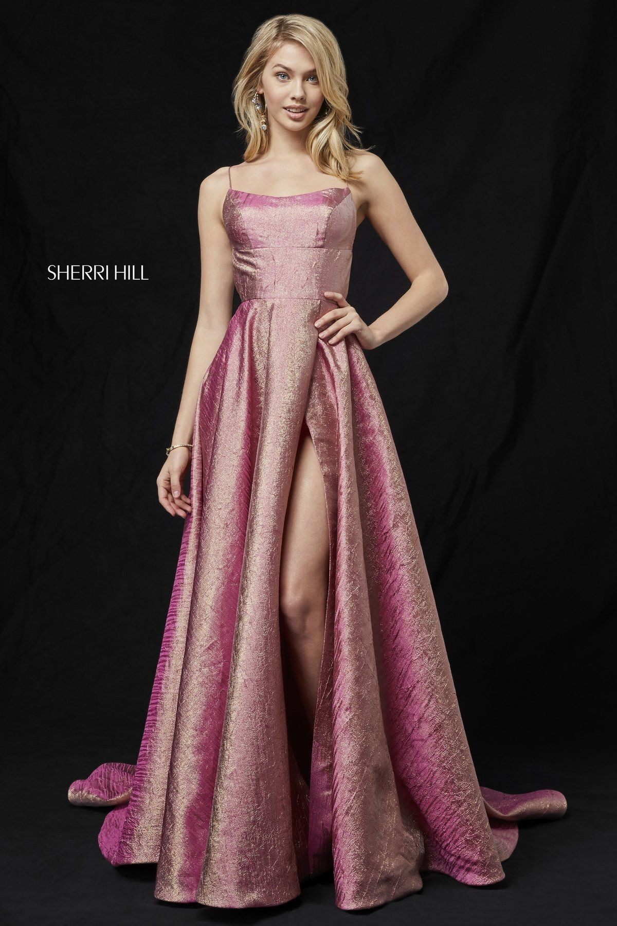 05cfb1b9448 Glitter gown with lace up back and slit skirt.