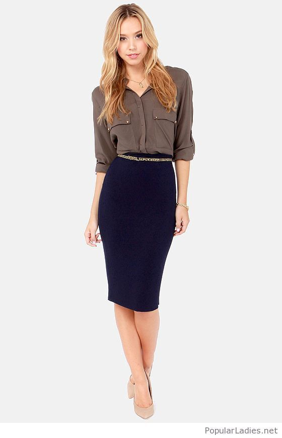 5a5c24c7d4 Navy skirt, grey skirt and nude high heels in 2019   Work Clothes ...