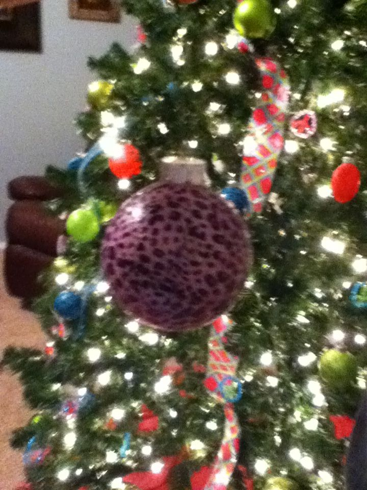 Our ornaments (Modge Podge and tissue paper on a clear ornament from