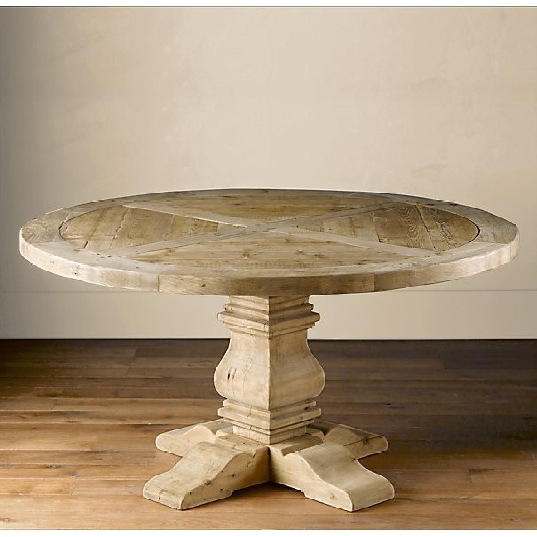 Restoration Hardware Salvaged Wood Trestle Round Table Aptdeco Round Dining Room Table Round Dining Room Round Wood Table [ 1500 x 1500 Pixel ]