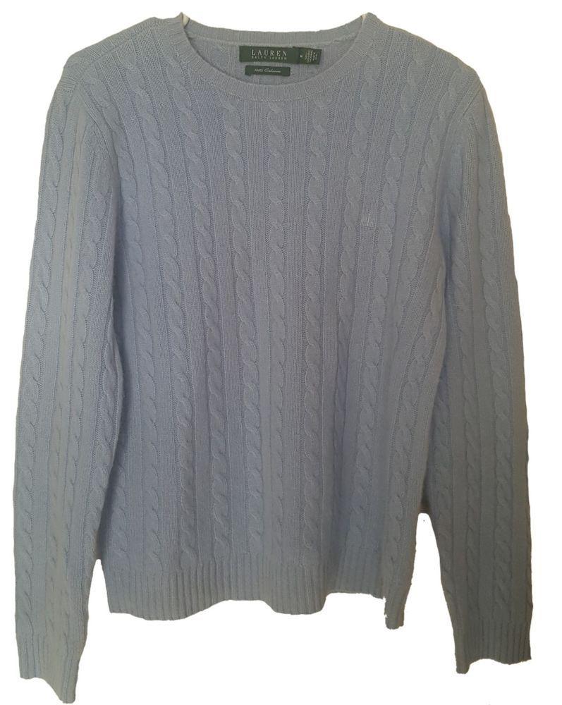 Lauren Ralph Lauren Womens 100 Cashmere Cable Knit Sweater Light