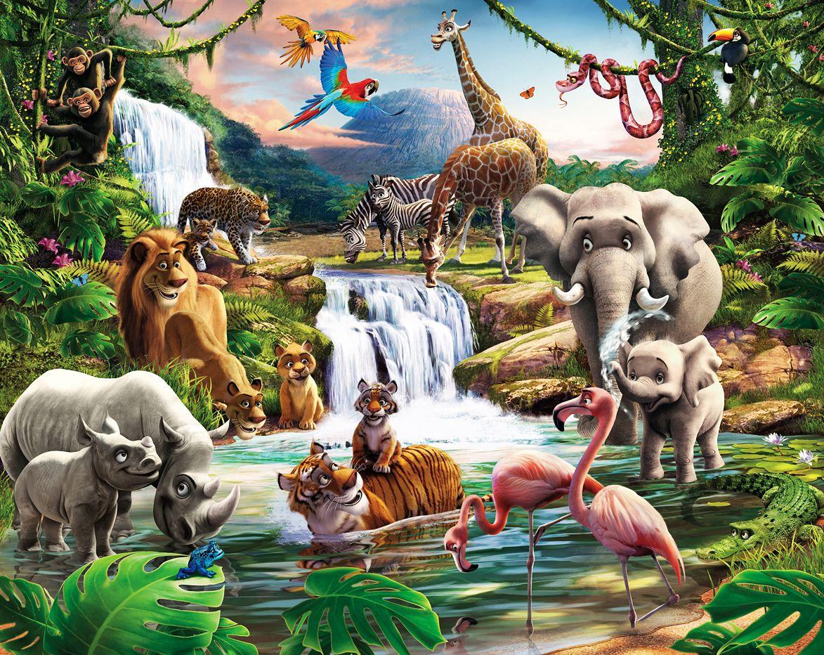 Fototapete Kinderzimmer Wandbild Dschungel Tiere Afrika Wanddeko ...