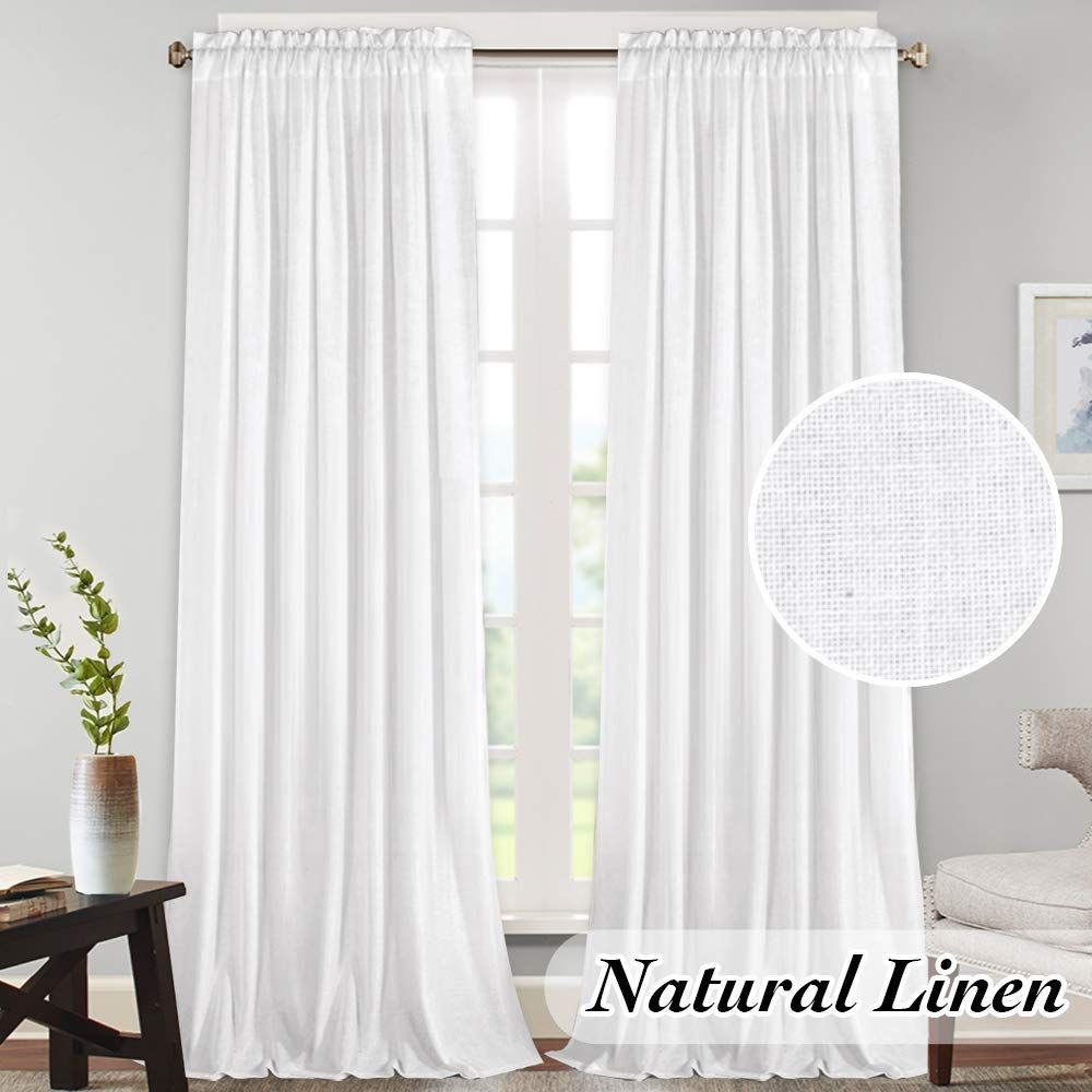 Amazon Com Natural Linen Curtains Extra Long 108 Inches Curtains For High Window Door Textured Rich Linen Light Filte In 2020 Linen Curtains Curtains Natural Curtains
