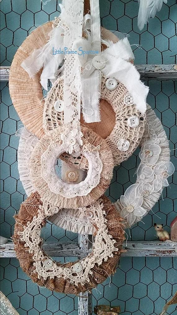 Photo of Burlap and lace wreath, fabric wreath set, shabby chic, rustic wedding background, forest wedding prop, farmhouse style, magnolia style