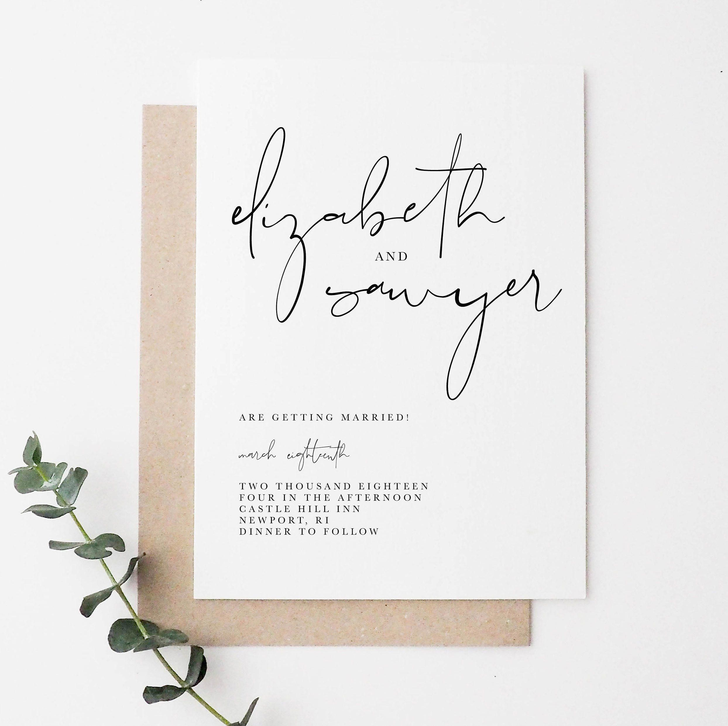 Free Electronic Wedding Invitations Templates: Minimal Wedding Invitation In