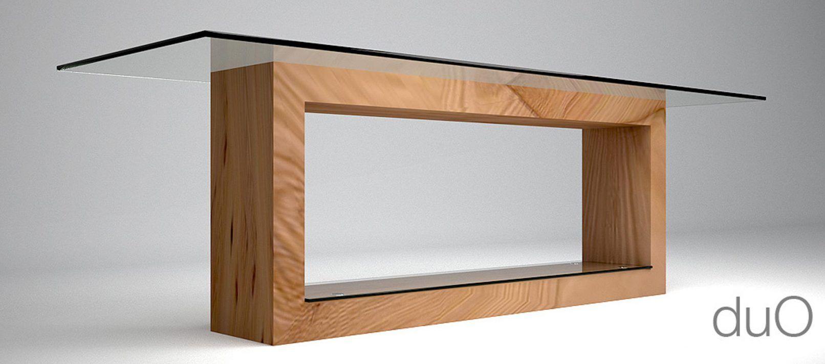 Tavolo in legno e cristallo DUO - Architetto Andrea Bella ...