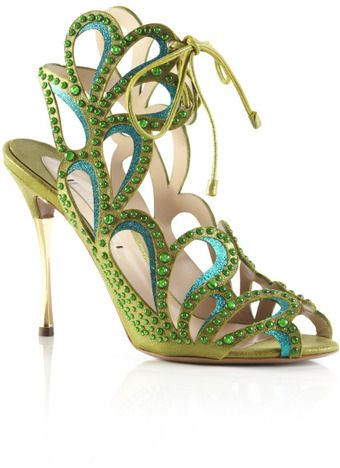 Nicholas Kirkwood Fluro Green Studded Cut Out Sandal