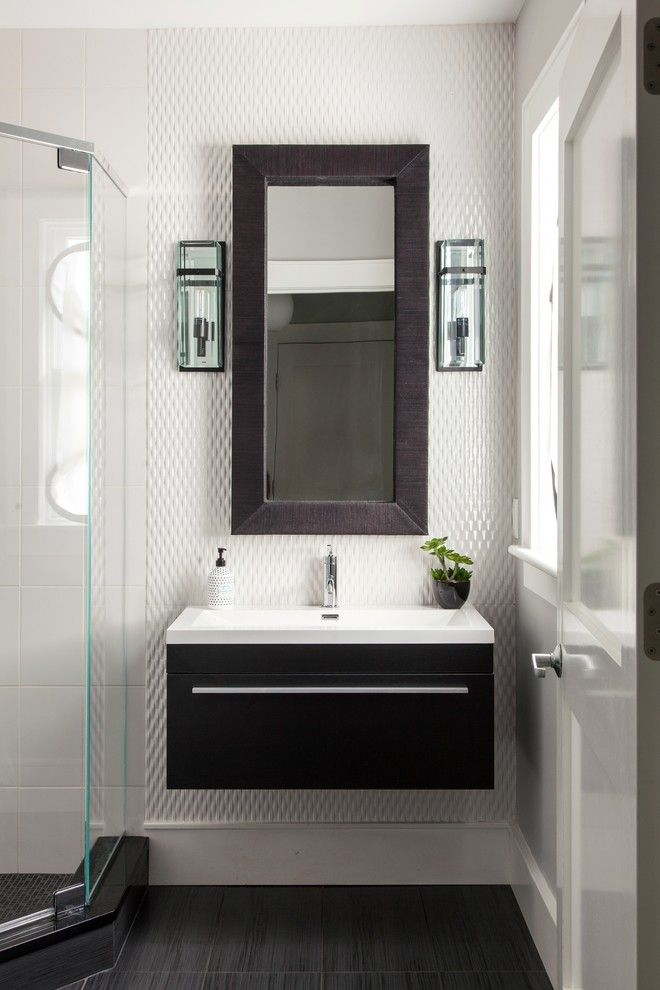 Modern Powder Room Vanity Bathroom Contemporary With 3d Wall Tile Black Remodeling Home
