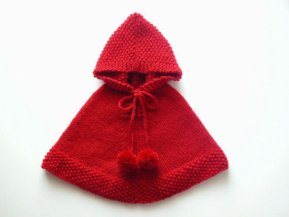 Baby Girl Poncho, Red Cape, Toddler Knit Sweater, Knit Hoodie With ...