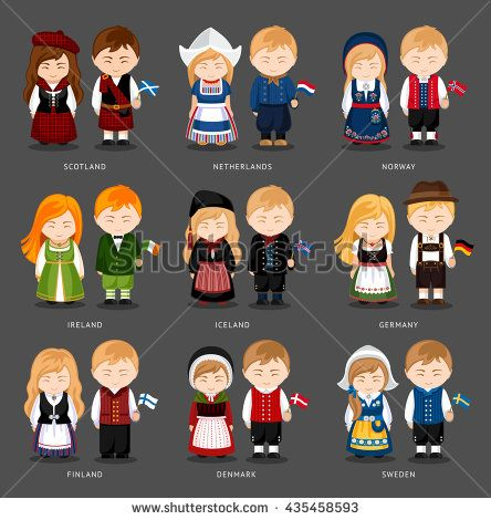 Set Of European Pairs Dressed In Different National
