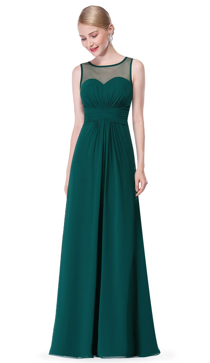 2a69914bf431 Ever-Pretty Women's Elegant Long A-Line Sleeveless Summer Black Tie  Romantic Beach Wedding Party Dresses for Women 08761 Green US  12#Sleeveless, #Line, ...