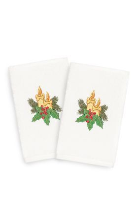 Linum Home Textiles Set Of 2 Candle Embroidered Luxury 100% Turkish Cotton Hand Towels - Sand - Hand Towel #handtowels