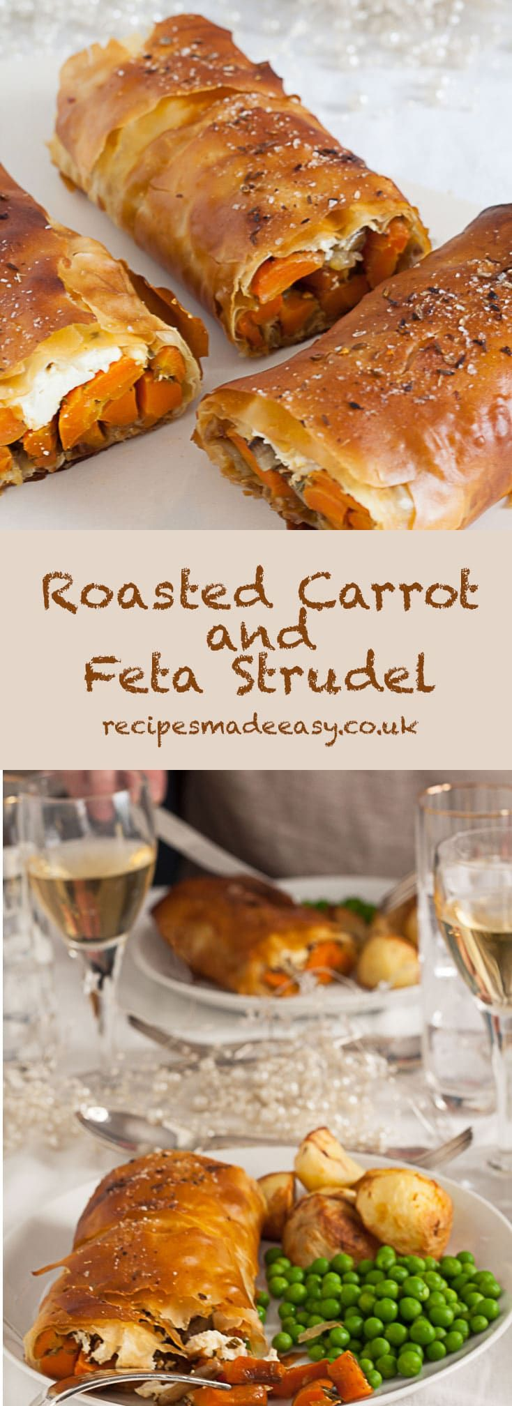 Roasted spiced carrot and Feta Strudel