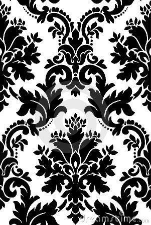 Black And White Pattern Flock Wallpaper White Patterns Black And White