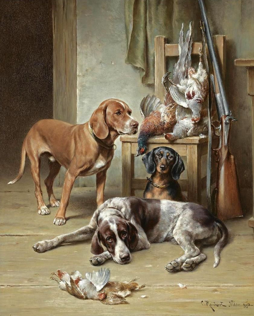 Carl Reichert 1836 1918 After Hunting Animal Paintings Dog