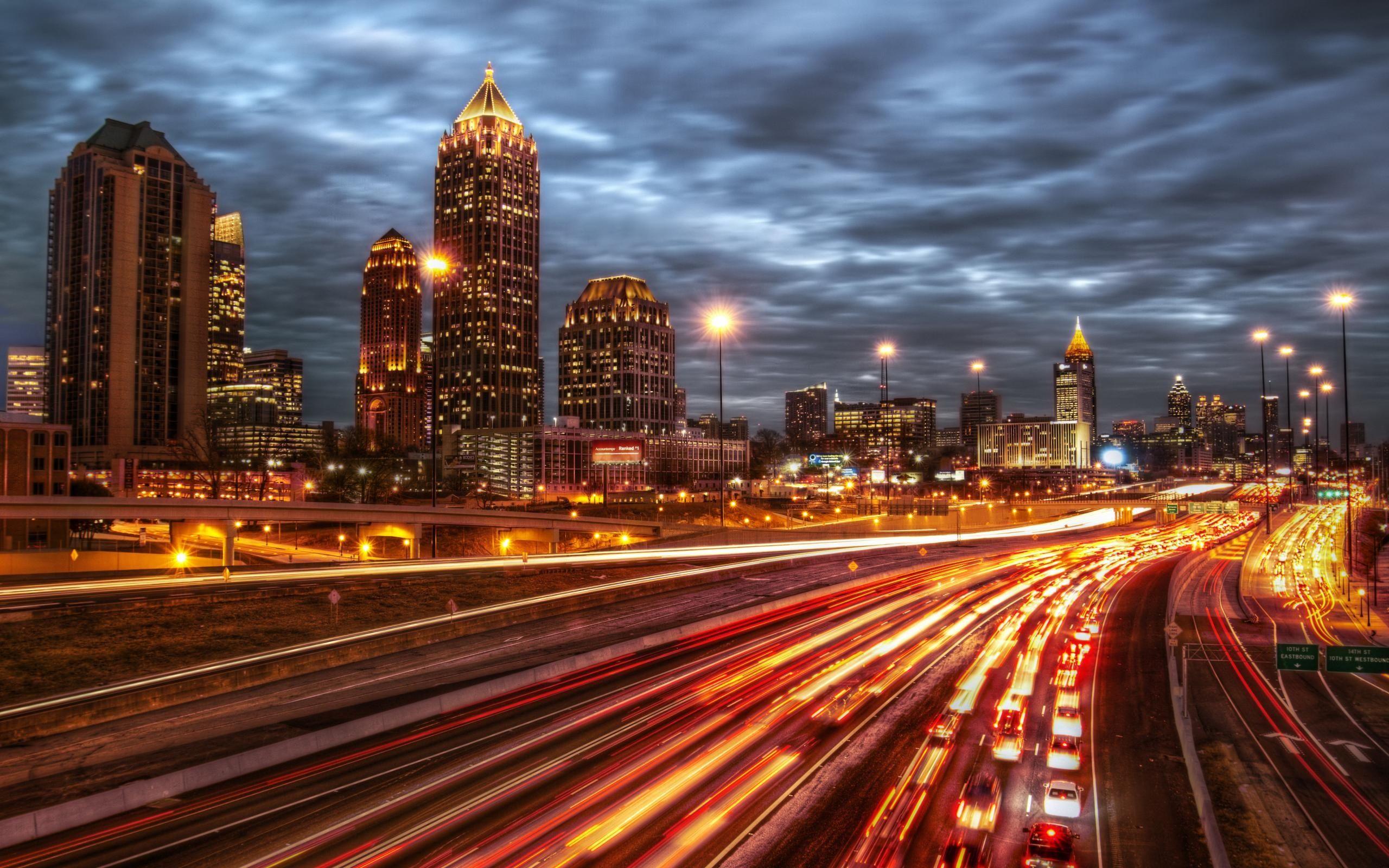 Atlanta City Night Usa Hd Wallpaper Download Awesome Nice