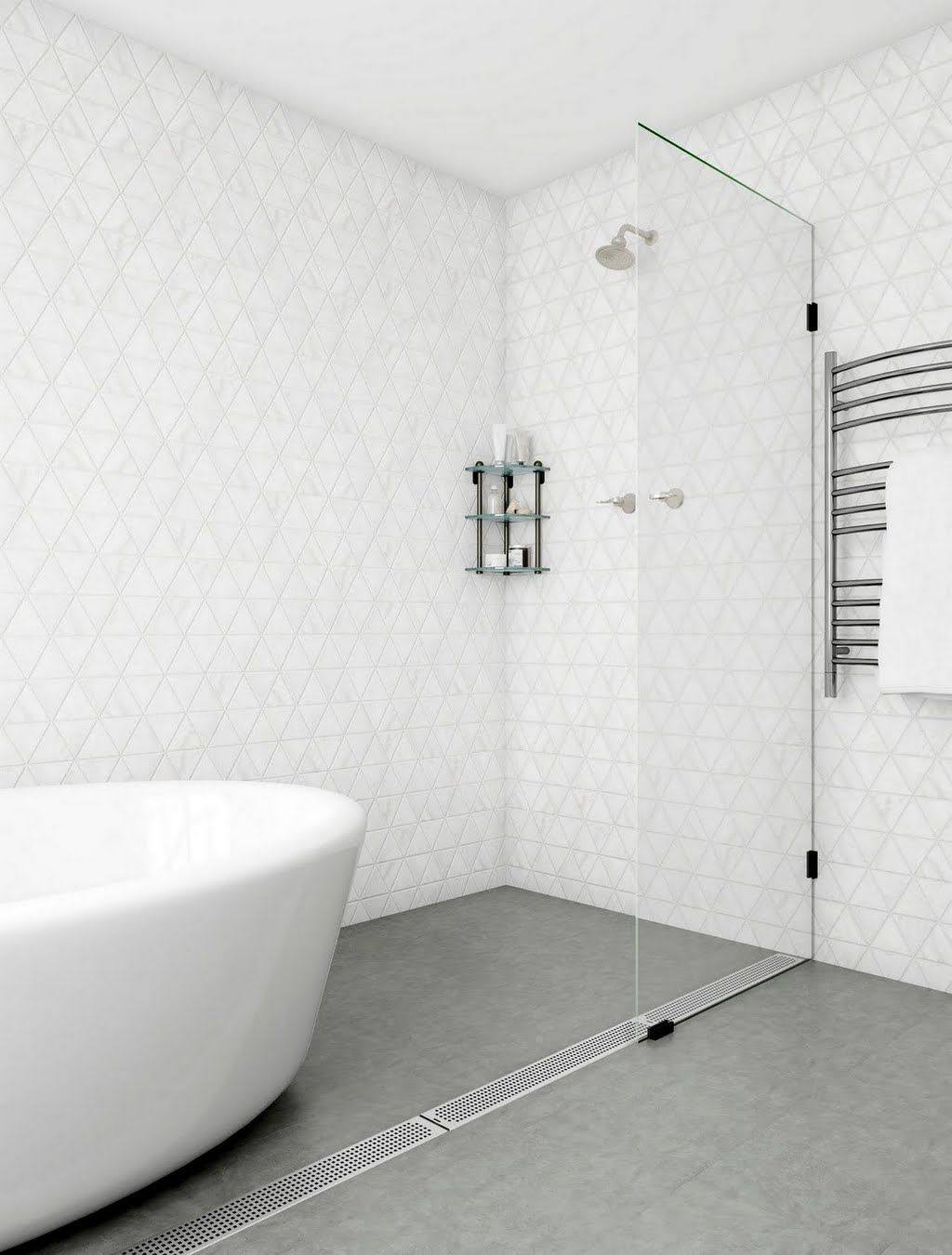 Shop our Bathroom Department to customize your White and Gray Minimalist Wet Room today at The Home Depot. #wetrooms