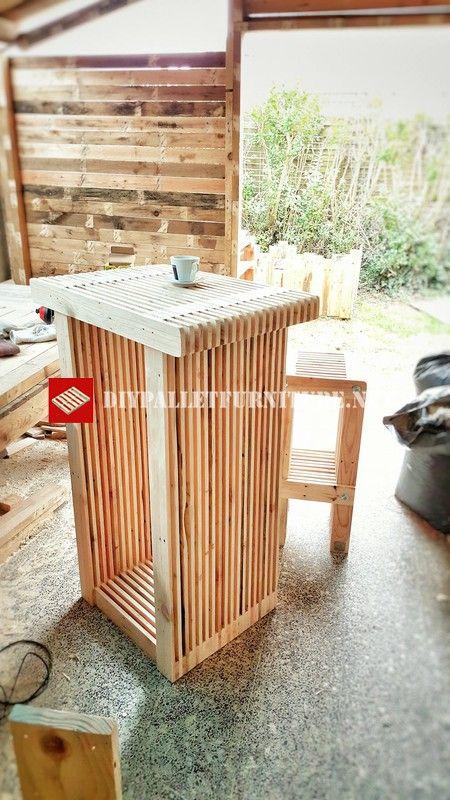 table haute et tabouret avec palettes bois palette. Black Bedroom Furniture Sets. Home Design Ideas