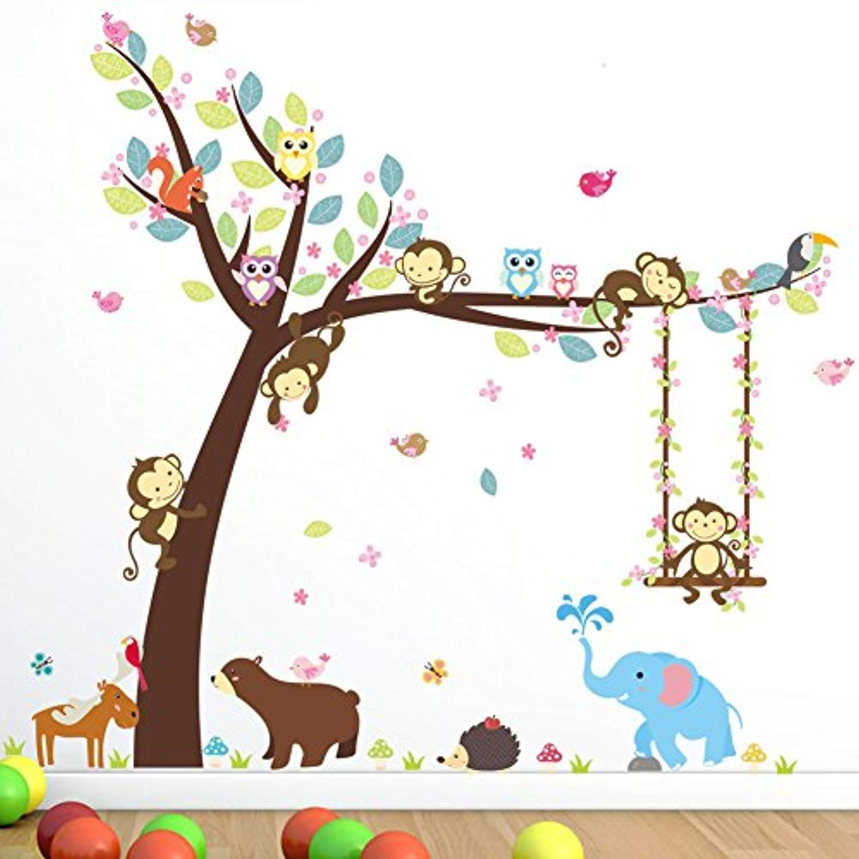 Cartoon Wall Sticker Monkey Art Baby Kids Playroom Decor Removable Living Room