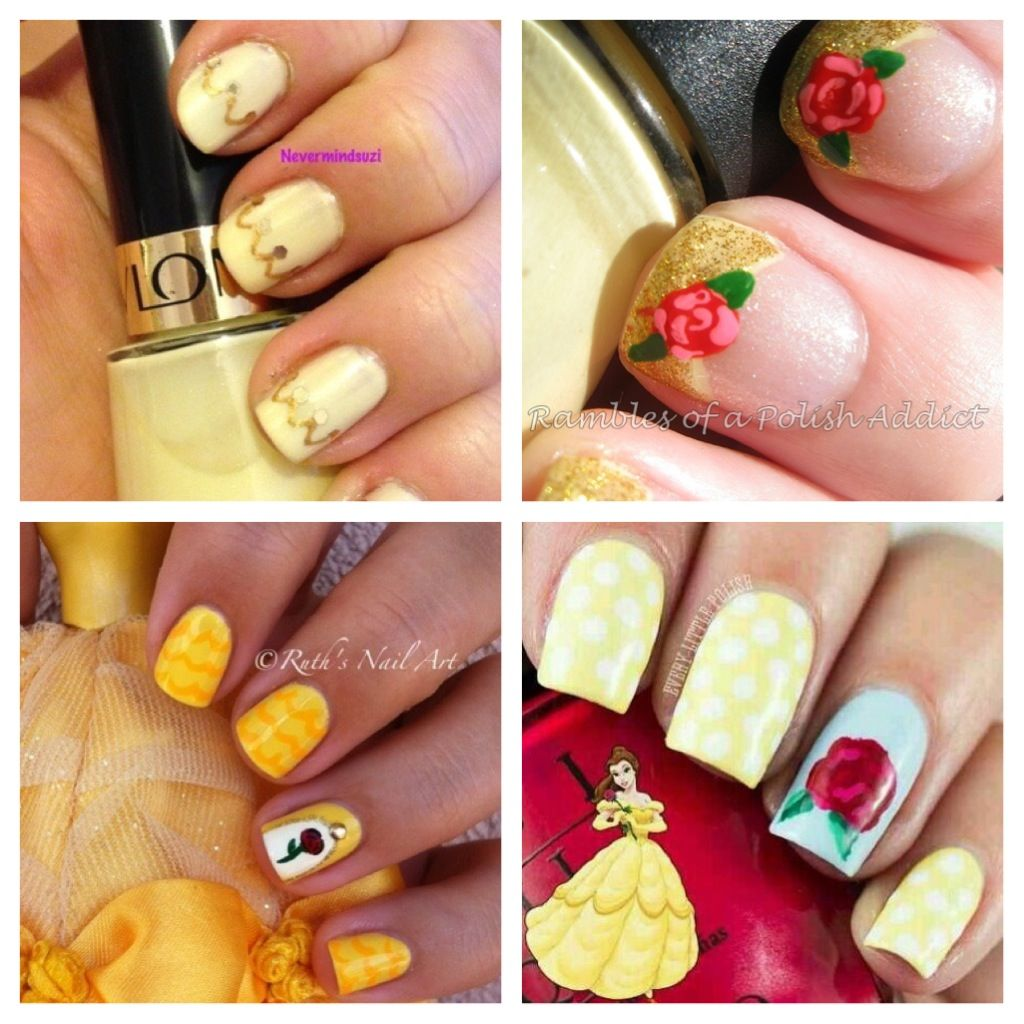 Pin By Allison Panos On Nails Belle Nails Disney Inspired Nails Disney Nail Designs