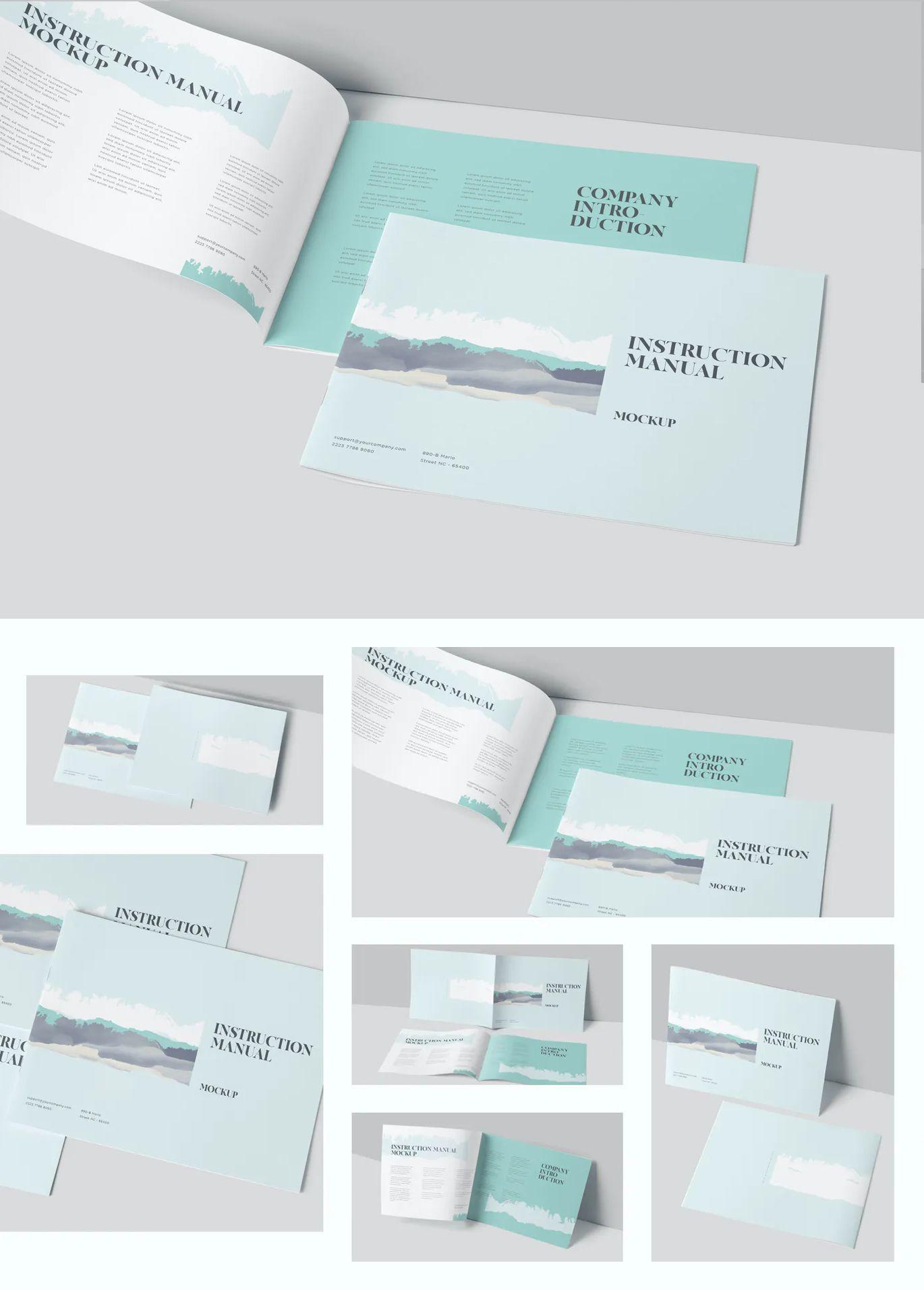 Landscape Instruction Manual Brochure Mockups Minimal Graphic Design Brochures Mockups Brochure