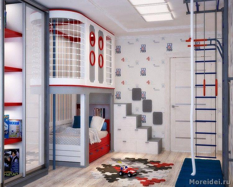 дизайн детской игровой комнаты фото   Двухъярусные кровати ...