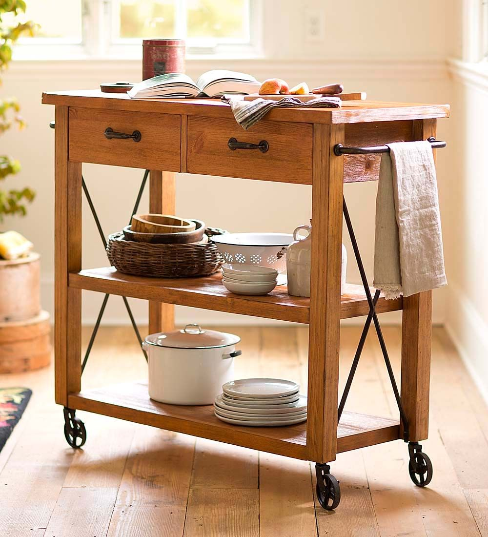 rolling kitchen cart, perfect for small kitchens that don't have
