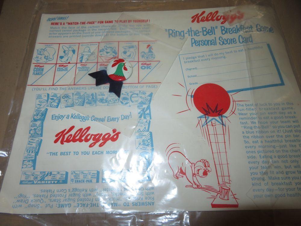 Vintage 1960s Kelloggs Cereal Breakfast Game Certificate Rooster
