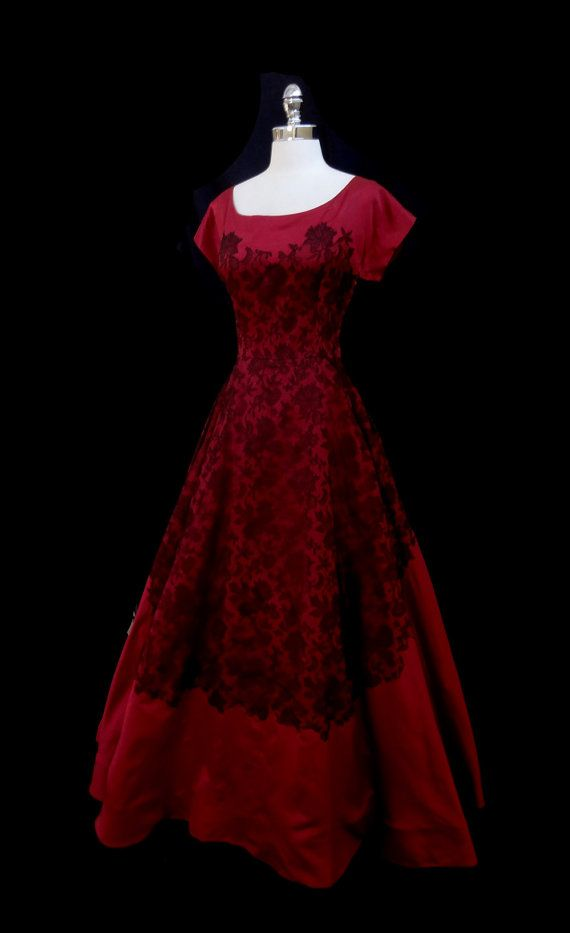 6b5a7711229 Vintage cranberry red silk 1940s gown.