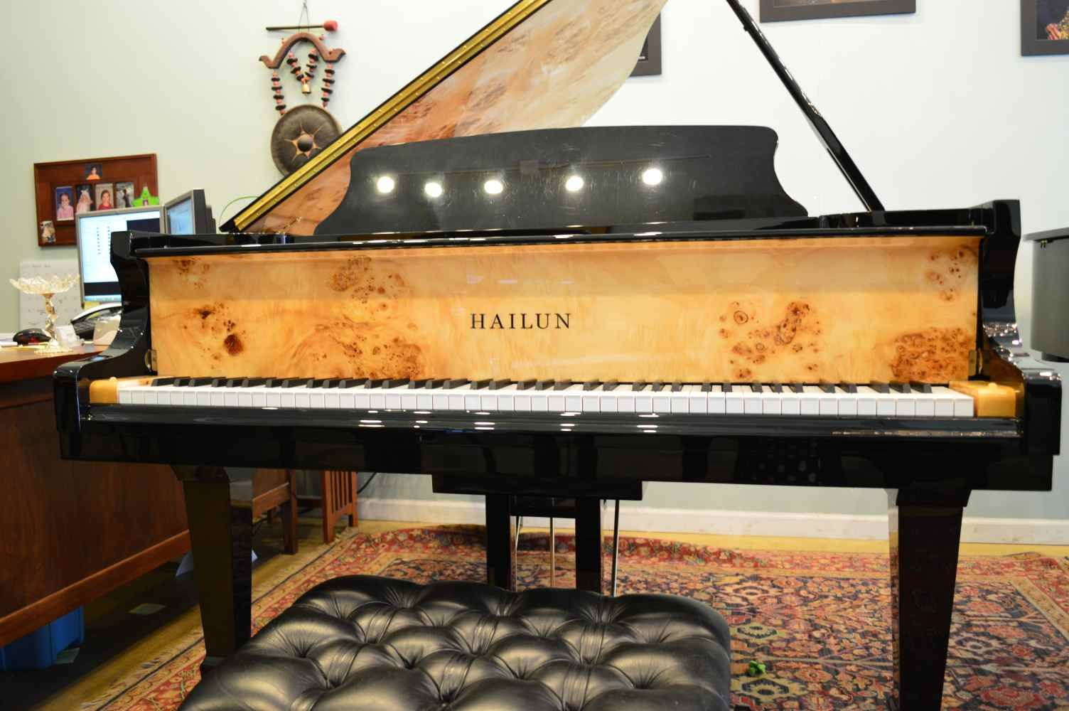 GORGEOUS burled maple on the fall-board and inner rim of this Hailun model 178