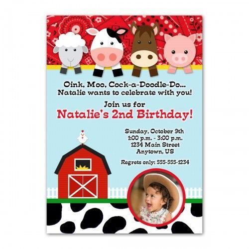 Farm Animals Custom Photo Birthday Invitation Design