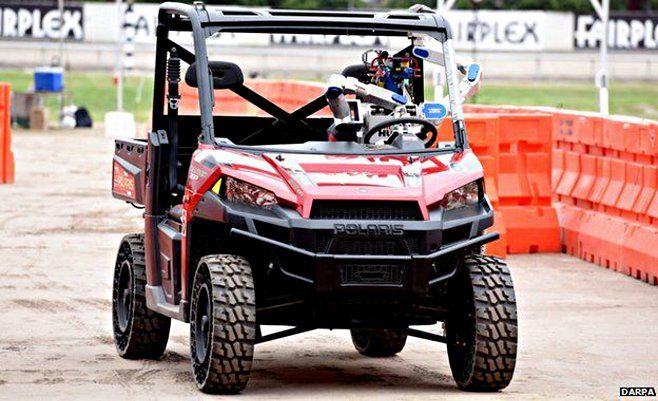 Team Kaist's DRC-Hubo, driving through part of the DARPA robot competition course.