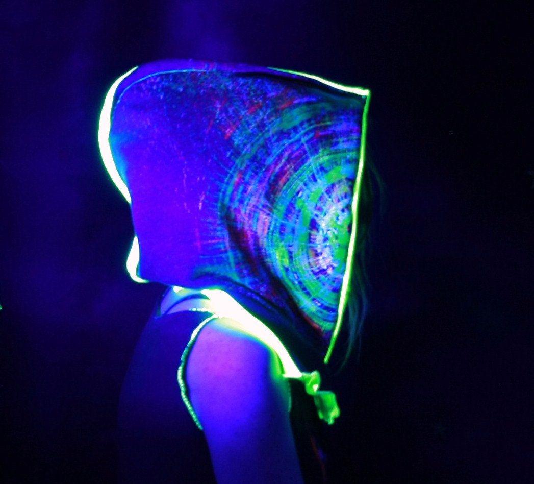Wintermutze Neon Psychedelic Uv Reactive Goa Pixie Hood Neon Psychedelic Pixie