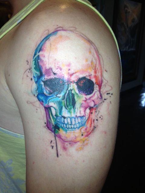 #splattertattoo #skulltattoo #abstractskull #abstracttattoo #watercolortattoo