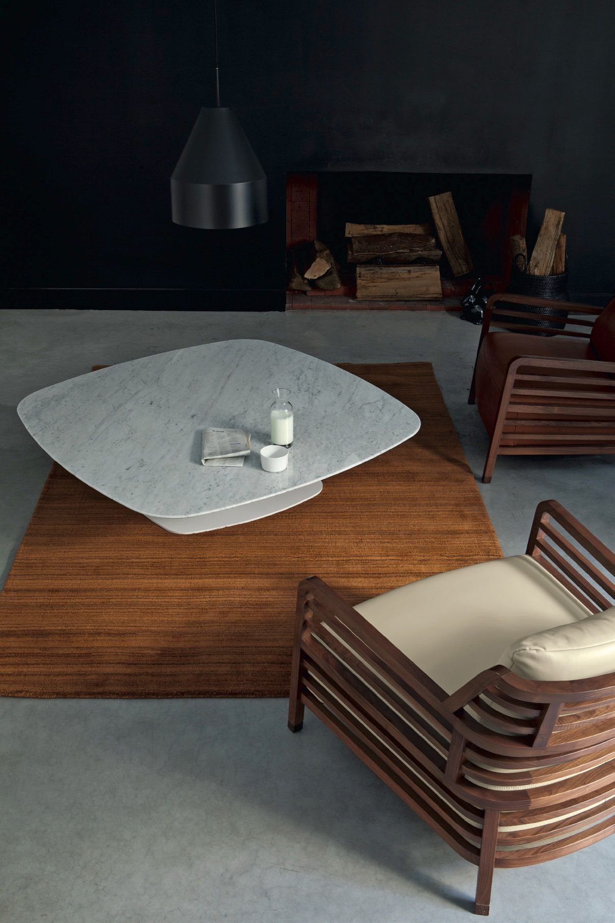 Alster Coffee Table in Carrara Marble; designed by Emmanuel