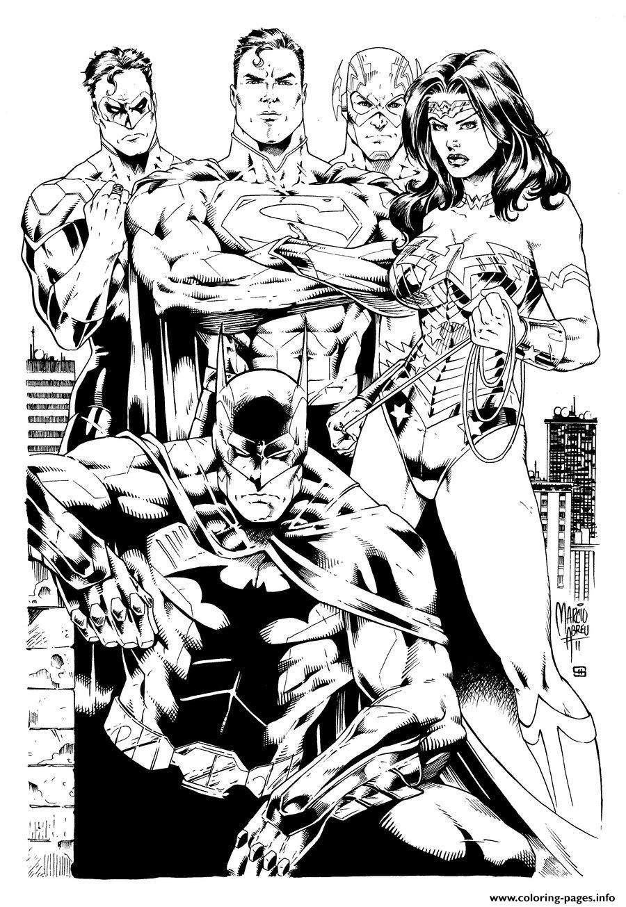 print justice league inks by shoveke coloring